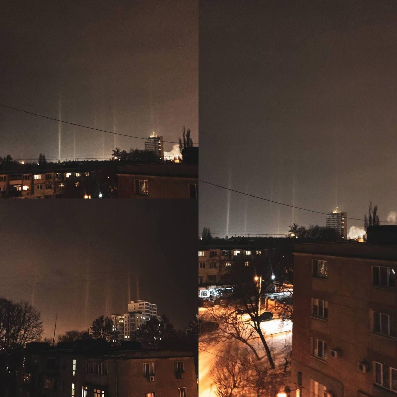 """Під Одесою через сильні морози в небі з'явилися """"світлові стовпи"""": фото рідкісного явища"""